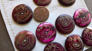 14 Antique Purple - Dyed/ - Tinted & Etched Mop Buttons Floral Twigs W/ Paisley Eye photo