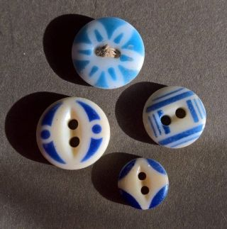 4 Antique Blue China Stencil Buttons Flower Barcode Indigo Sky Something Blue photo