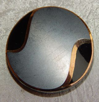 Vintage Large Black Glass Button W/ Gold Luster 1039 - A photo