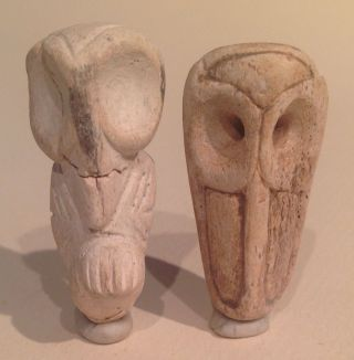Taino 2 Pendants,  Owl And Long Beak Bird,  Precolumbian photo