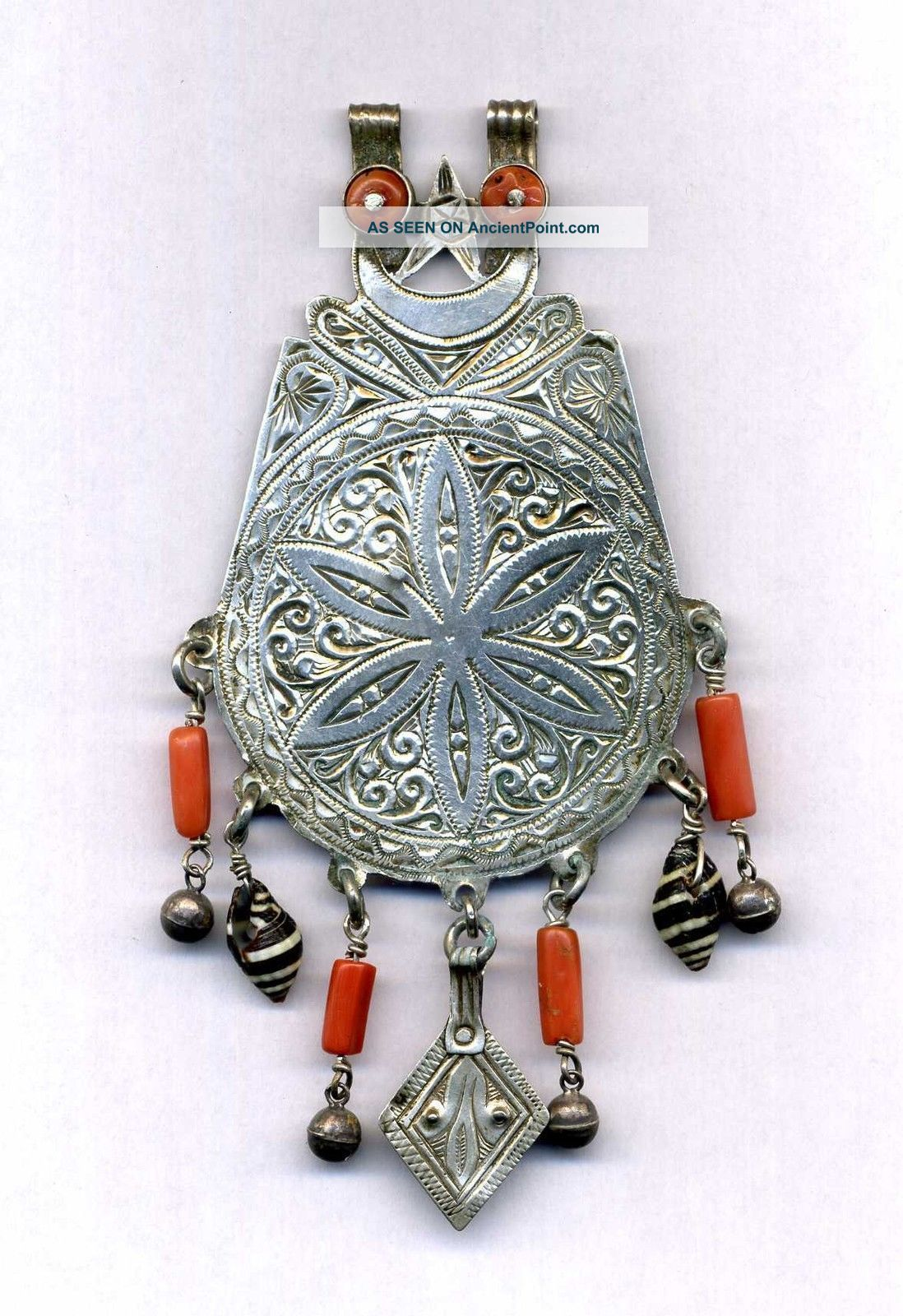 Morocco - Ancient Silver Pendant For Necklace,  Coral And Shell Pendant Jewelry photo