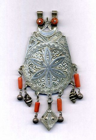 Morocco - Ancient Silver Pendant For Necklace,  Coral And Shell Pendant photo