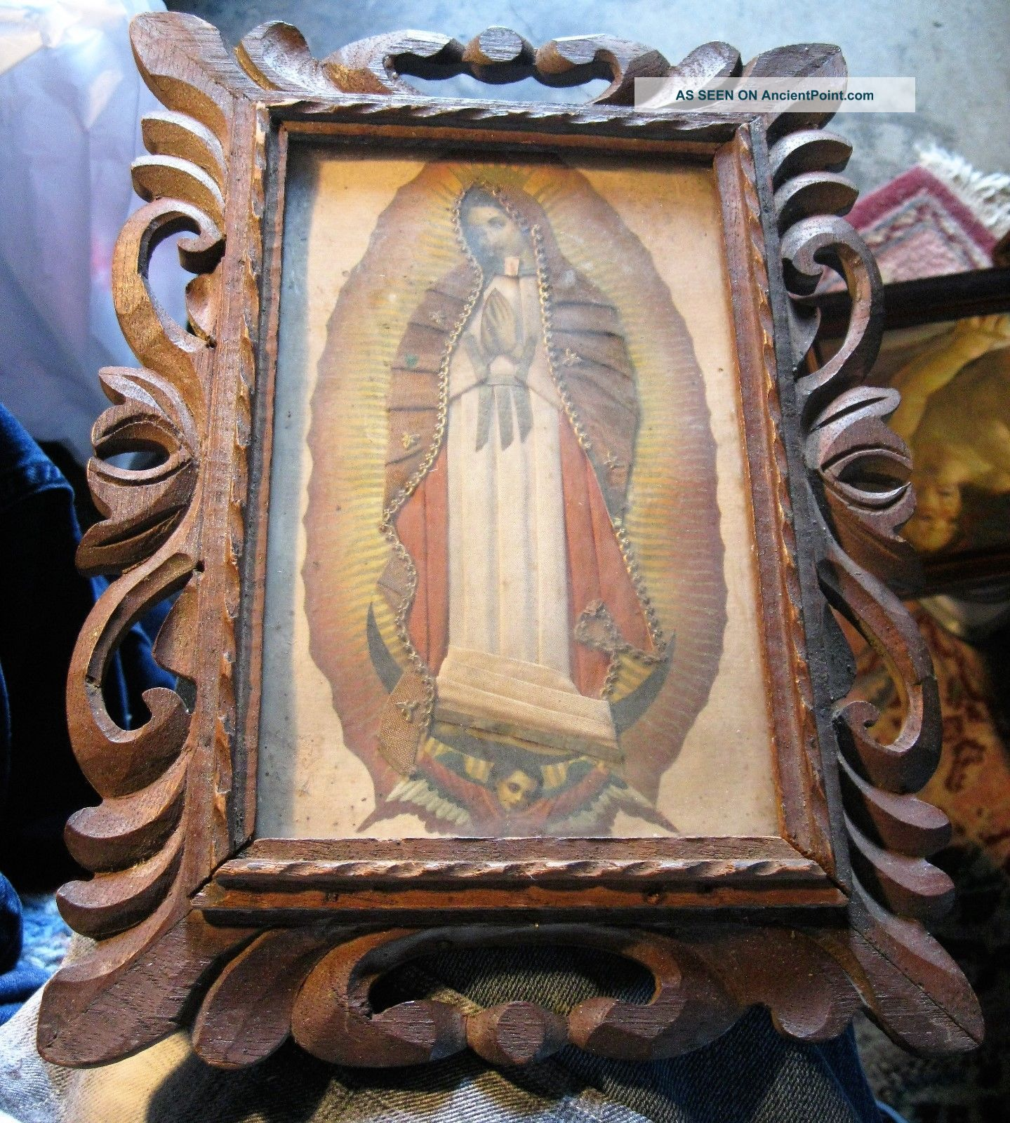 Vintage Painting Of Our Lady Of Guadalupe With Vintage Wood Frame Latin American photo