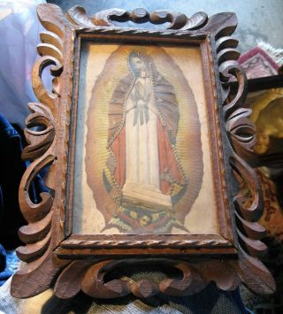 Vintage Painting Of Our Lady Of Guadalupe With Vintage Wood Frame photo