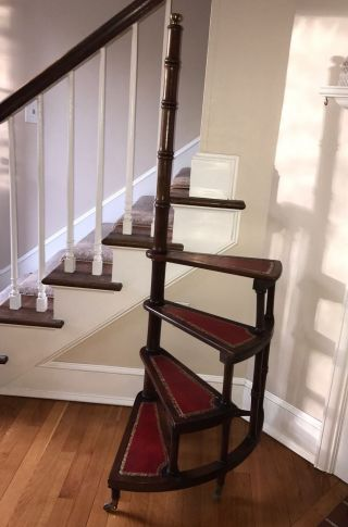 Antique Mahogany Five Tiered Library Steps,  W/ Leather Tread photo