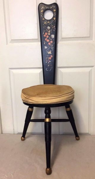 Antique Hand Painted Carved Wood 3 - Legged Stool - Chair - photo