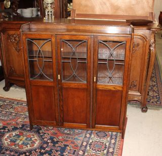 English Antique Arts & Crafts Oak Leaded Glass Bookcase photo