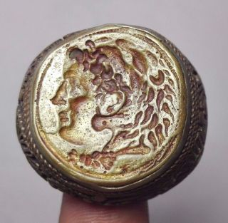 Stunning Roman Alaxander Face Tiger Head Intaglio Bronze Ring 10 Size photo