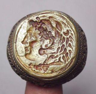 Stunning Roman Alaxander Face Tiger Head Intaglio Bronze Ring 10 Size photo