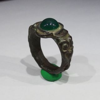 Medieval Bronze Ring Natural Stone With Green Agate photo