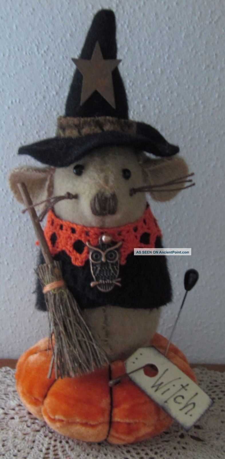 Primitive Wool Halloween Witch Mouse Broom Owl Make Do Pin Cushion Pfatt Ehag Primitives photo