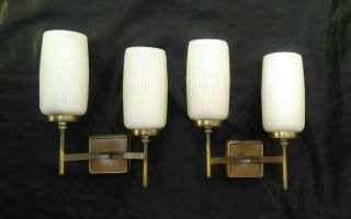 Splendid Pair Wall Sconces Glass Opalino & Gold Brass Mid Century Stilnovo 1950s photo