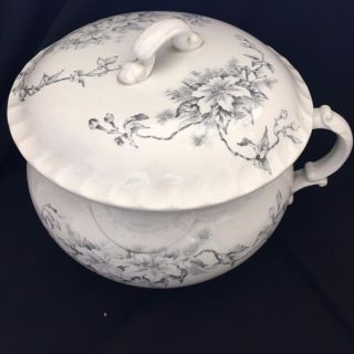 Antique Meakin? Ironstone Made In England Transferware Chamber Pot & Lid photo