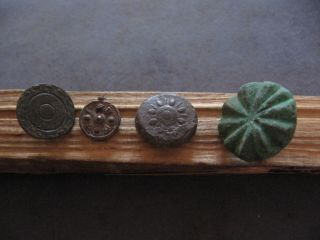 4 Stylized Sun Amulets Ancient Celtic Engrave Dbronze Solar Talisman 500 - 300 Bc photo
