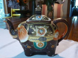 Antique Vtg Japanese Moriage Gilded Hand Painted Elephant Teapot Tea Kettle photo