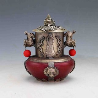 Chinese Antique Red Agat Inlaid Tibetan Silver&buddha Lid Incense Burner photo