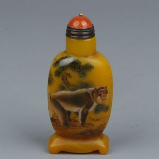 China Exquisite Hand - Painted Monkey Pomegranate Pine Pattern Glass Snuff Bottle photo