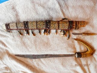 Antique Borneo Dayak Mandau Sword & Dagger & Sheath Indonesian 28 Teeth & Hair photo