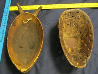 2 Very Old And Authentic African Masks Used? Late 19th/early 20th Century Worn photo