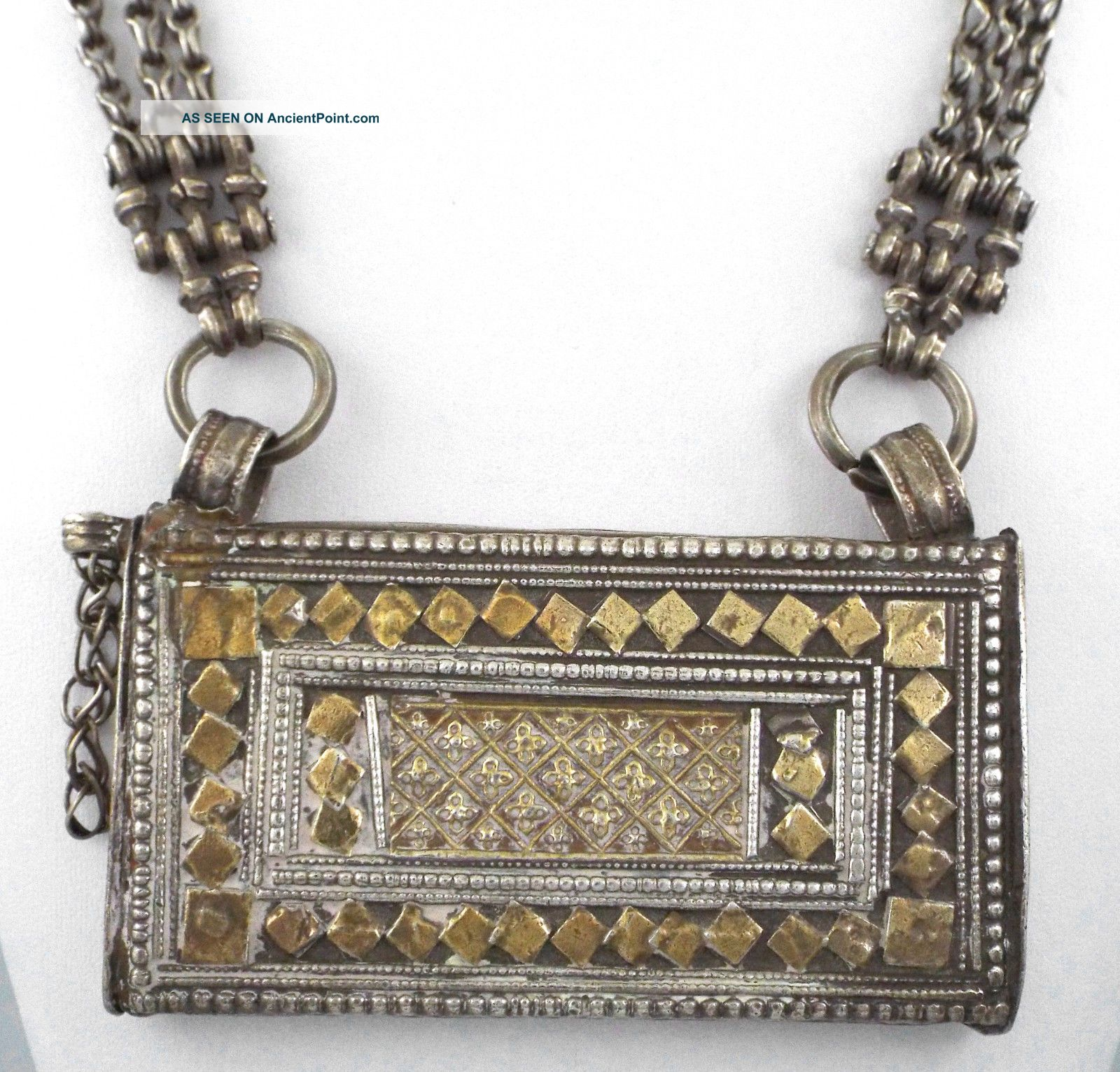 Large Antique Sterling Silver Berber Prayer Box Pendant/necklace - 191 Gr Jewelry photo