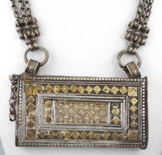 Large Antique Sterling Silver Berber Prayer Box Pendant/necklace - 191 Gr photo