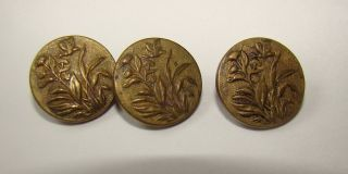 Antique French Buttons 3 Art Nouveau Industrie Parisienne Butterfly / Flowers photo