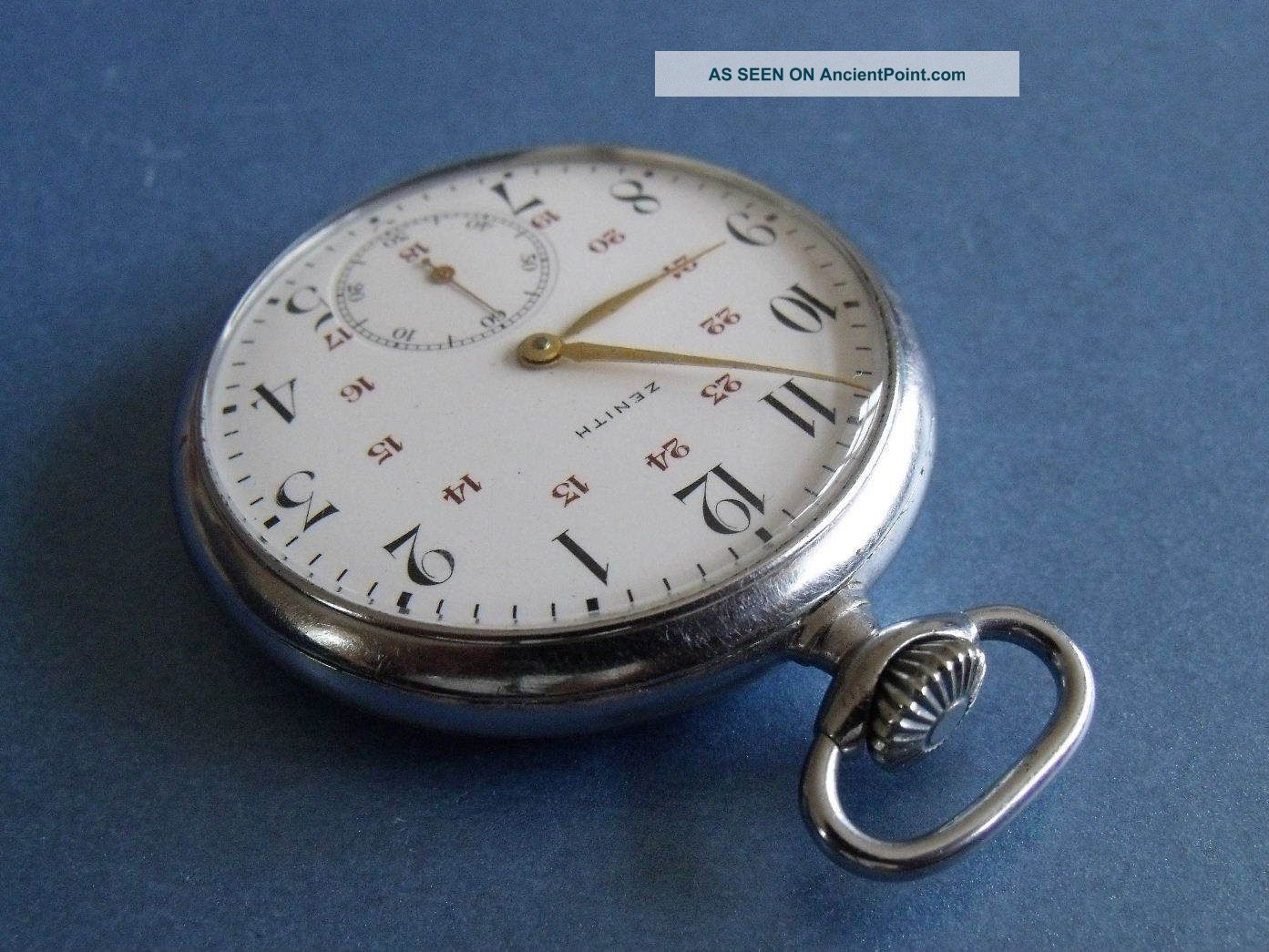 Zenith Grand Prix Pocket Watch - Rare 24 Hour Dial Cal 18 - 28 - 3 - P Pocket Watches/Chains/Fobs photo