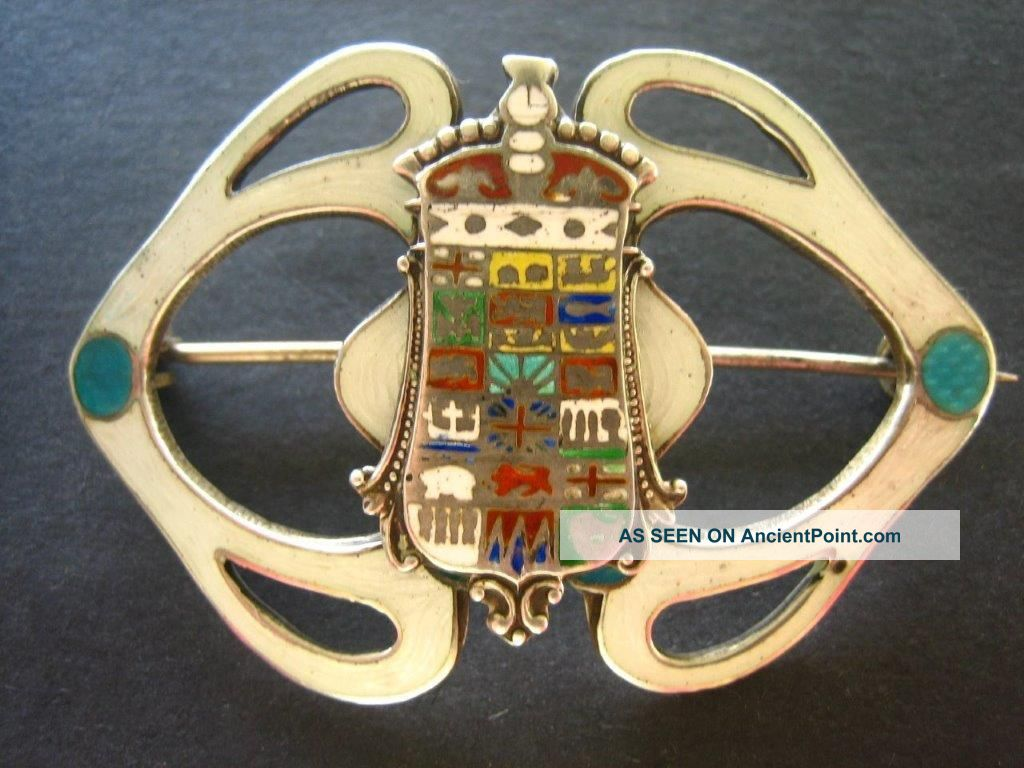 Antique Enamel Shield Canadian Provinces Souvenir Brooch Pin Sterling Silver Sterling Silver (.925) photo
