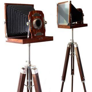 Vintage Wooden Camera Decorative Old Film Folding Nautical Marine Decor Home photo