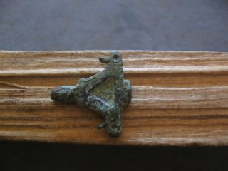 2 Bird Heads Magic Amulet Ancient Celtic Bronze Zoomorphic Talisman 500 - 300 B.  C photo