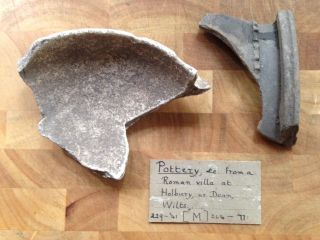 Antique Roman Pottery Fragmet From Holbury Nr Dean In Wiltshire (england) photo