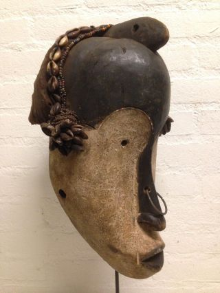 Gabon: Old Tribal African Fang Maskwith Cap. photo