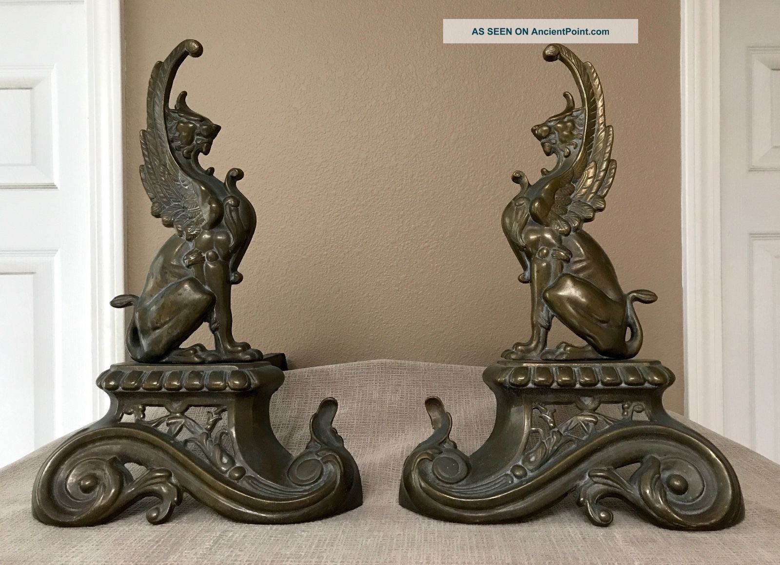 French 1890 Repoussé Brass Griffin Andirons / Chenets Rare Hearth Ware photo