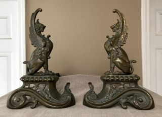 French 1890 Repoussé Brass Griffin Andirons / Chenets Rare photo
