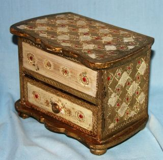 Vintage (dated 1958) Italian Gold Florentine Jewelry Box Toleware photo