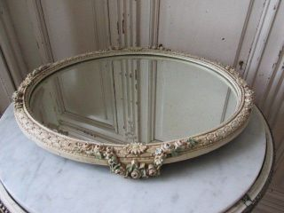 Exquisite Old Antique Barbola Gesso Plateau Mirror Swags Of Pink Roses Flowers photo