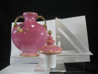 Pink Opaline Harrach Marked Urn With Lid Enameled Decoration photo