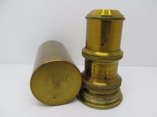 Antique Brass Microscope Objective Verreck Paris Unknown Large Size 1/8