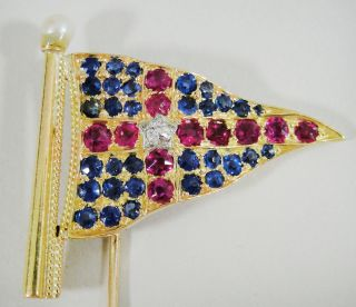 Antique York Yacht Club 14k Gold Ruby Sapphire Diamond Pearl Burgee Flag Pin photo