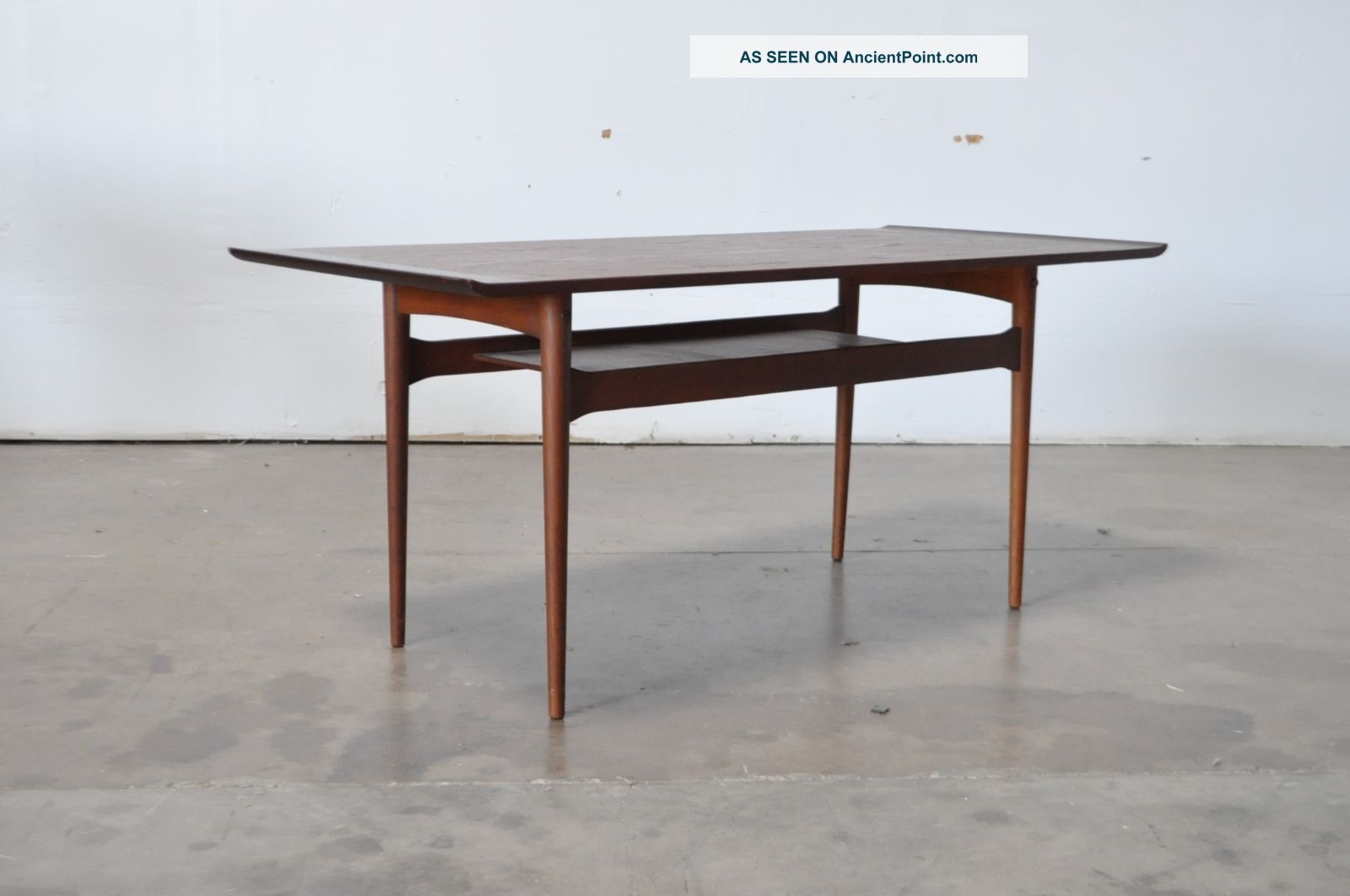 Vtg Mid Century Danish Modern Teak Wood Tall Coffee Sofa Table Jalk Mid-Century Modernism photo