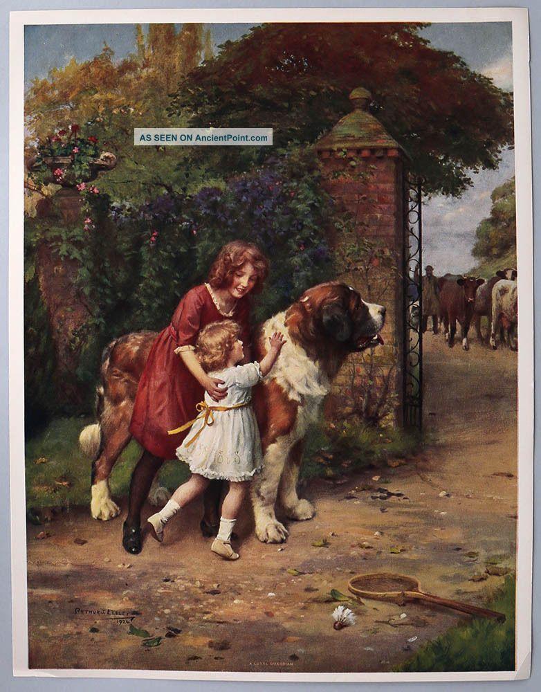 Arthur John Elsley 1924 Antique Victorian Nostalgic Genre Print St Bernard Kids Victorian photo