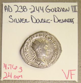 Ad 238 - 244 Gordian Iii,  Providentia Rev.  Ancient Roman Silver Double - Denarius Vf photo
