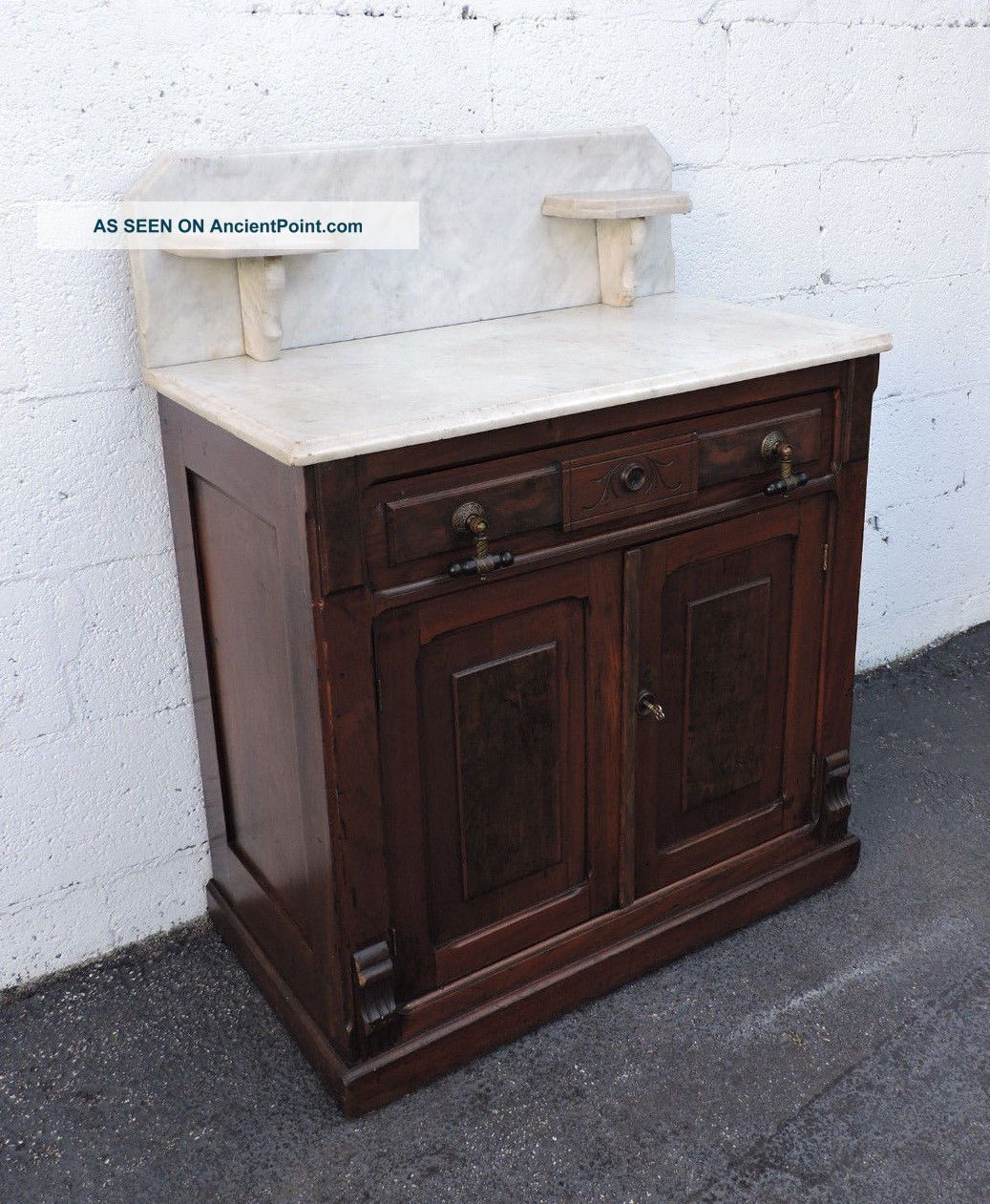 Early Victorian Eastlake Carved Marble - Top Wash Stand Cabinet 7811 1800-1899 photo