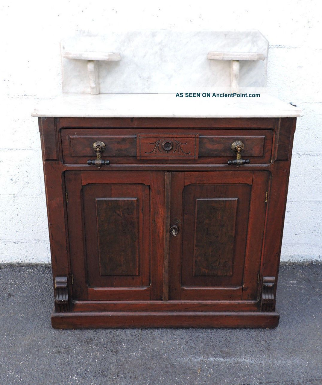 Early Victorian Eastlake Carved Marble Top Wash Stand Cabinet 7811