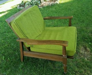 Vintage Heywood Wakefield Chair With Avocado Green Cushions photo