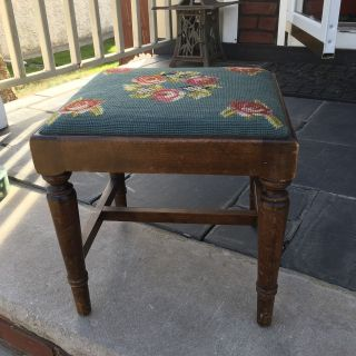Antique Wood Needlepoint Foot Stool Rest Ottoman Tapestry Embroidered Vtg photo