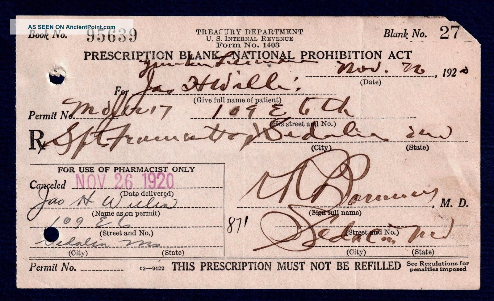 Prohibition Alcohol Old 1920 History Prescription Pharmacy Doctor Bar Missouri Other Medical Antiques photo
