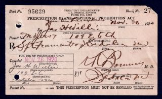 Prohibition Alcohol Old 1920 History Prescription Pharmacy Doctor Bar Missouri photo