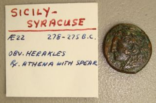 278 - 275 Bc Sicily,  Syracuse Heracles / Athena Ancient Greek Ae22 Vf photo