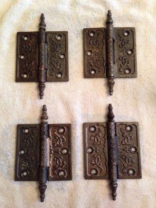 4 Antique Fancy Victorian Iron Door Hinges 3.  5